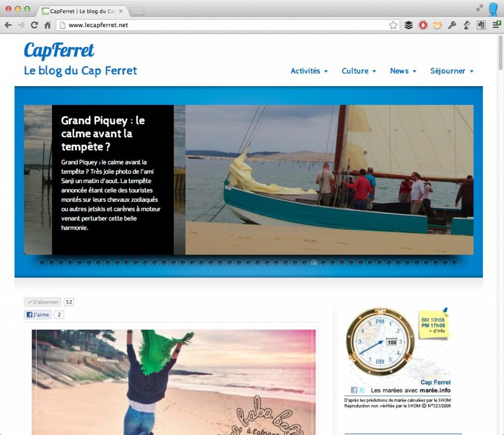 Le relooking du Blog du Cap Ferret - en ligne depuis 2005