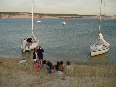 Quatre voiliers à Arguin (photo : Marie)
