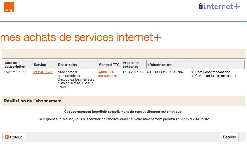 Arnaque Internet + Orange - la transaction source