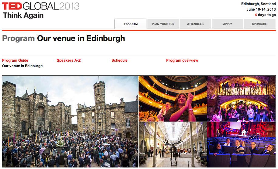 La page d'accueil du programme de TEDGlobal 2013