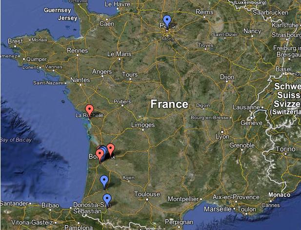 Carte des lieux relais TEDxBordeaux 2012