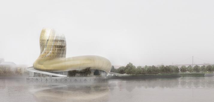 La vue de la Cité des Civilisations du Vin, par X-Tu