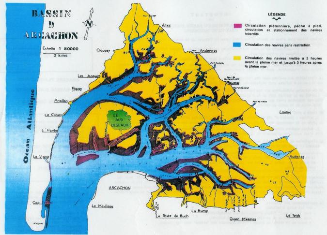 Les différentes zones de navigation sur le Bassin d'Arcachon