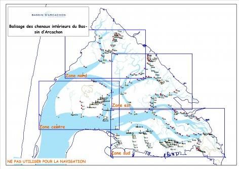 Carte du balisage des chenaux et esteys du bassin d'Arcachon - SIBA