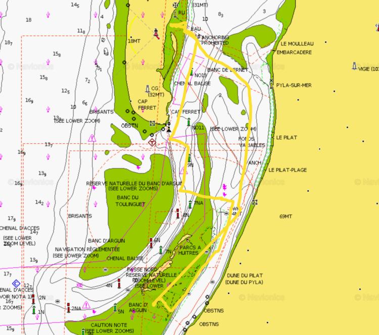La trace GPS sur Navionics ChartViewer