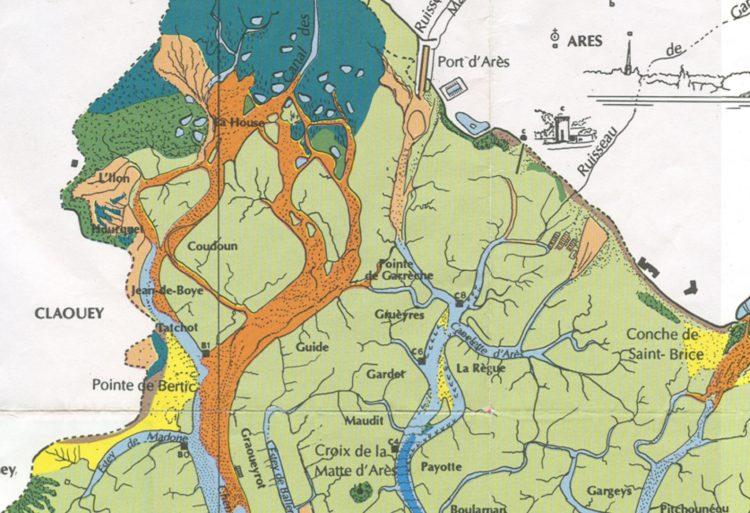Le nord du bassin, extrait de la carte de Jean-Marie Bouchet