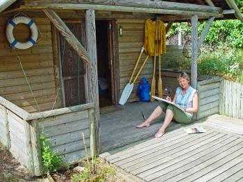 Béatrice Rigenbach à sa cabane