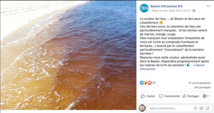 L'office du tourisme explique à facebook pourquoi l'eau est jaune cette semaine