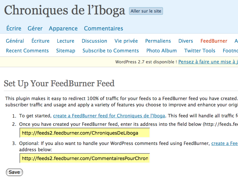 Chroniques de l'Iboga › FeedBurner — WordPress