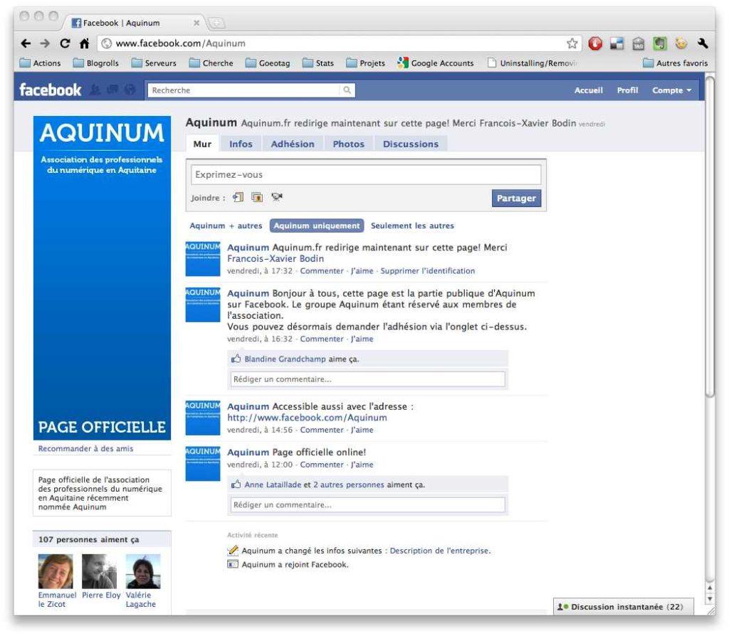 Aquinum, la page Facebook