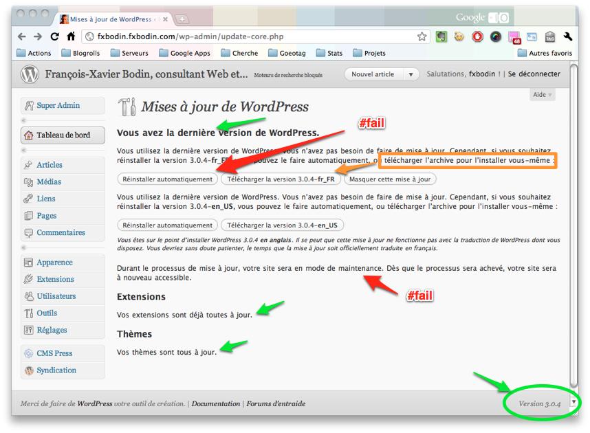 Mises à jour de WordPress
