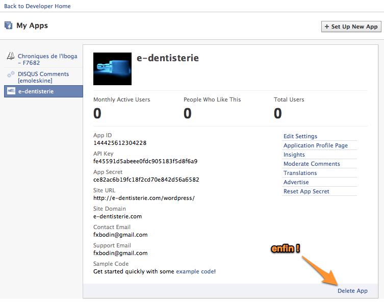 Administrer et supprimer une application Facebook - l'écran My Apps (si vous le retrouvez...)