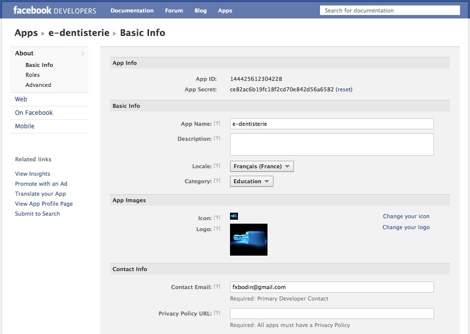 Administrer et supprimer une application Facebook - dans Developers