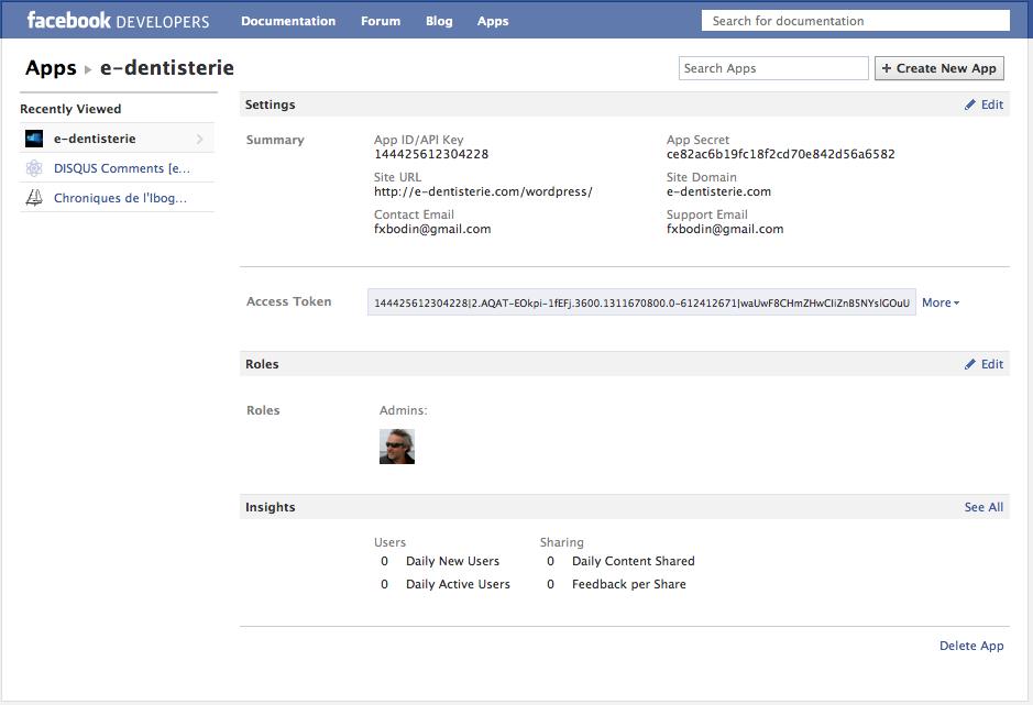 Administrer et supprimer une application Facebook - l'autre écran qui permet de supprimer