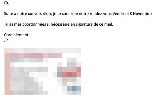 Le mail de JP (un peu floutée, sa signature : il n'est pas question ici de basher mon ami JP)